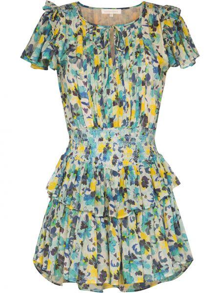Хлопковое синее платье мини с завязками Loveshackfancy