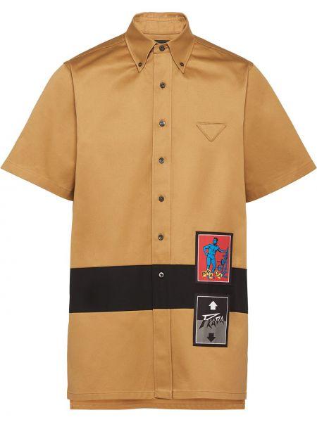 Koszula krótkie z krótkim rękawem z paskami z logo Prada