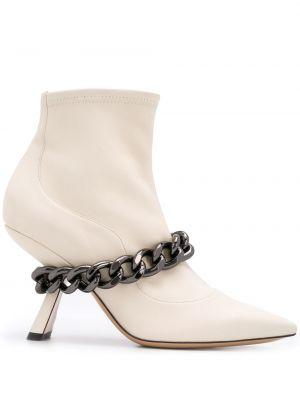 Skórzany buty na pięcie z ostrym nosem na pięcie Nicholas Kirkwood