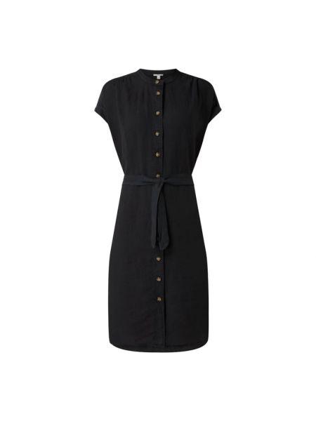 Czarna sukienka mini rozkloszowana z wiązaniami Edc By Esprit