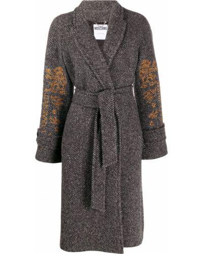 Шерстяное белое длинное пальто с вышивкой Moschino