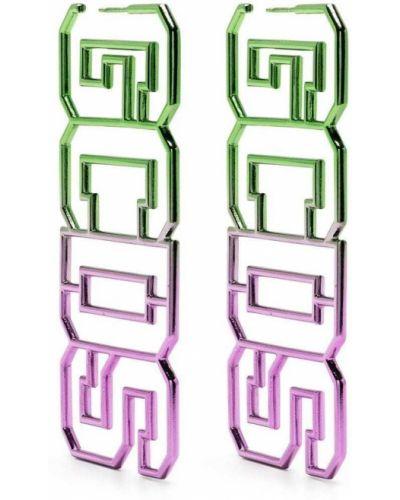 Зеленые серьги-гвоздики металлические Gcds