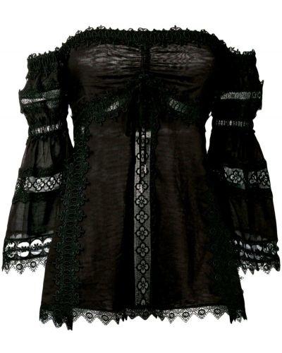 Черная блузка с открытыми плечами с вышивкой с поясом Charo Ruiz