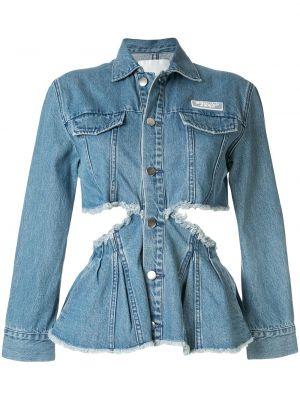 Приталенная синяя джинсовая куртка с воротником Ground Zero