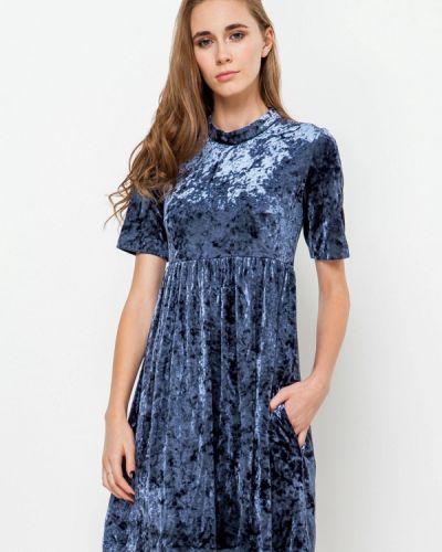 Вечернее платье осеннее синее Escena