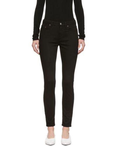 Czarny jeansy do kostek chudy z kieszeniami z łatami Acne Studios