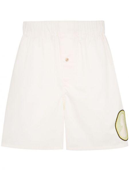 Beżowe krótkie szorty z haftem bawełniane Linder