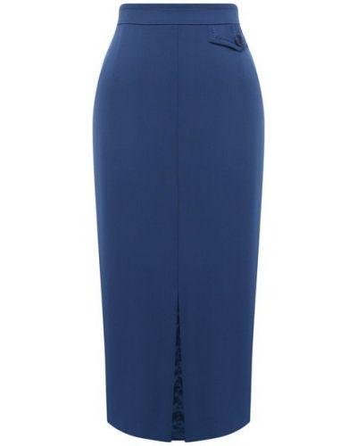 Шерстяная синяя юбка с подкладкой Escada