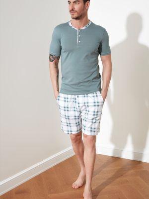 Zielona piżama w kratę Trendyol