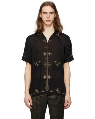 Satyna czarny koszula z haftem z kołnierzem Saint Laurent