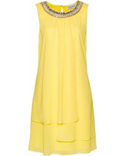 Желтое коктейльное платье круглое с аппликациями Bonprix
