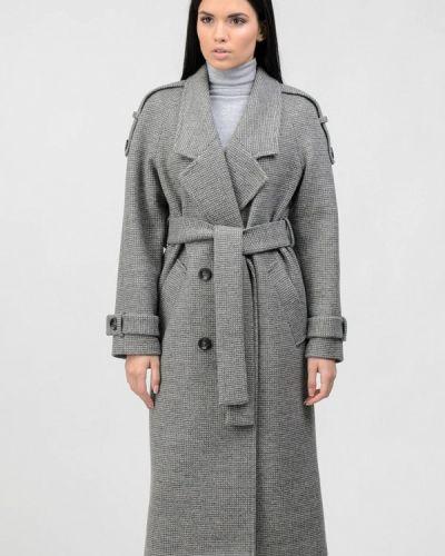 Серое пальто двубортное Raslov