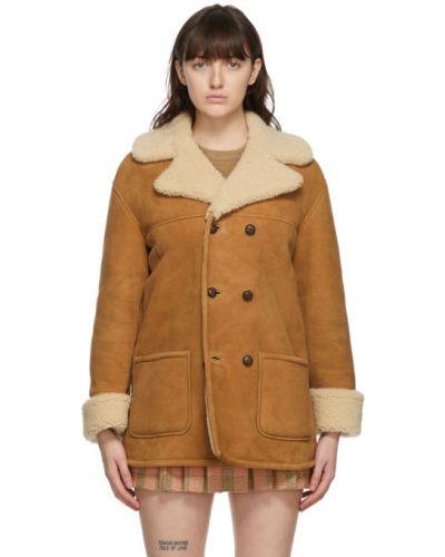 Z rękawami długo płaszcz z kołnierzem dwurzędowy z kieszeniami Gucci