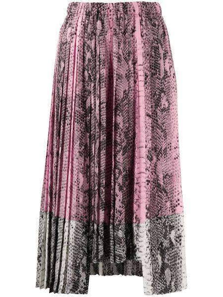Плиссированная юбка миди кожаная N21