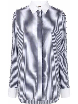 Рубашка в полоску - белая Adam Lippes