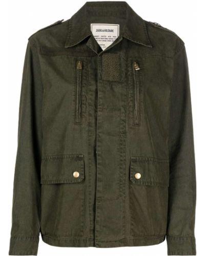 С рукавами зеленая куртка на молнии Zadig&voltaire