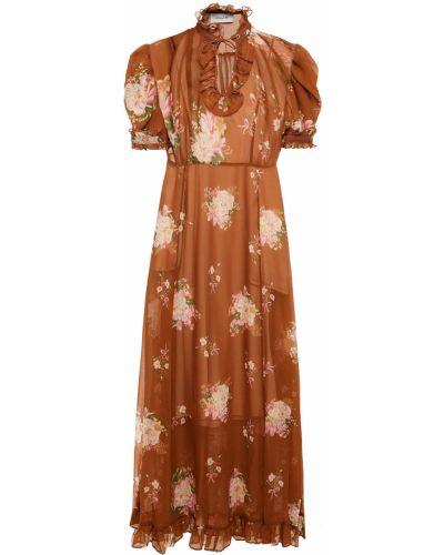 Шифоновое платье миди - коричневое Coach