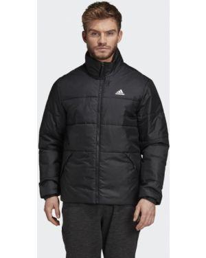 Деловая облегченная черная зимняя куртка с нашивками Adidas