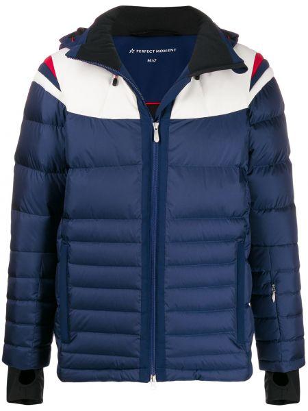 Синяя нейлоновая куртка с капюшоном с манжетами с карманами Perfect Moment