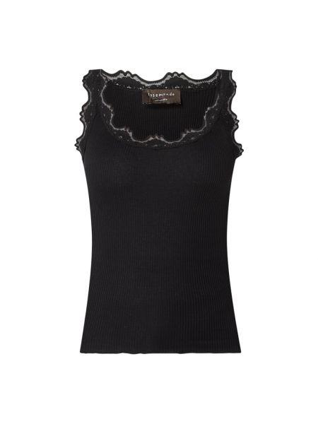 Prążkowany czarny top bawełniany Rosemunde