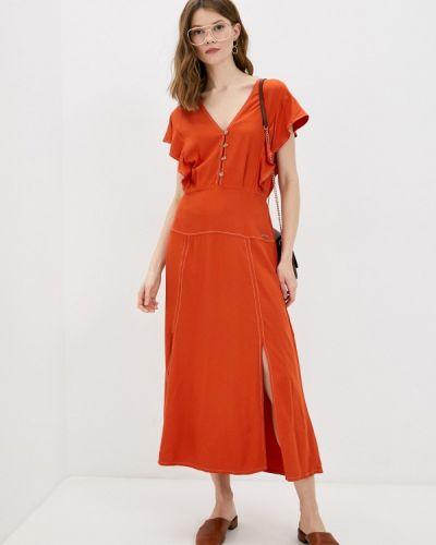 Оранжевое прямое платье А-силуэта Colcci