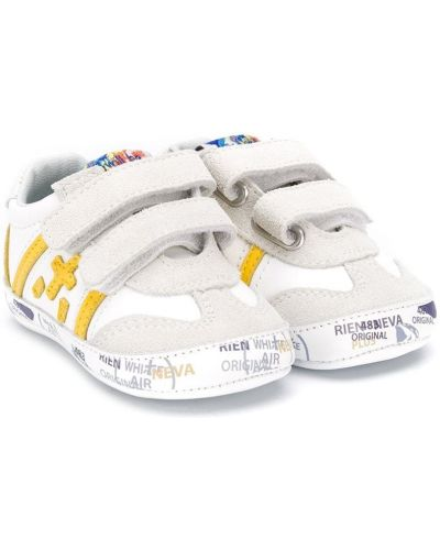 Кожаные белые кроссовки круглые с круглым носом Premiata Kids