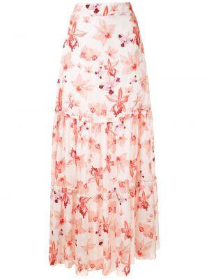 Шелковая с завышенной талией белая юбка макси Isolda