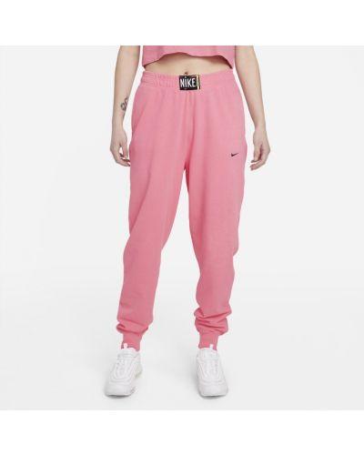 Różowe spodnie z wysokim stanem ocieplane Nike