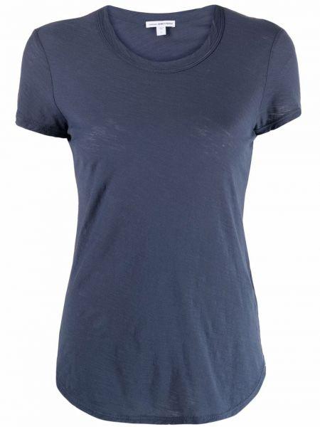 Синяя футболка с короткими рукавами с вырезом James Perse
