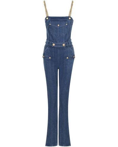 Голубой джинсовый комбинезон Balmain
