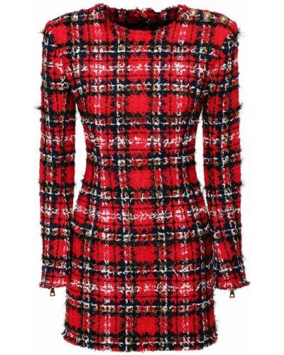 Платье мини с декольте с длинными рукавами с манжетами на кнопках Balmain