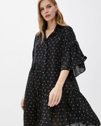 Черное платье осеннее Adzhedo