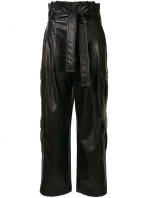 Кожаные черные брюки с поясом узкого кроя Goen.j
