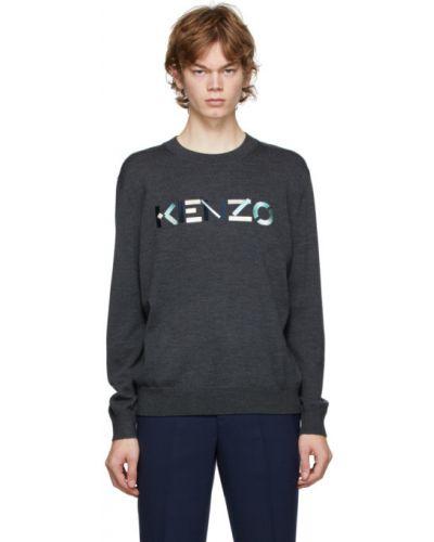 Z rękawami niebieski sweter z kołnierzem z mankietami Kenzo