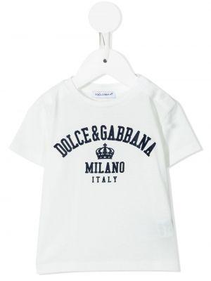 Biała T-shirt z nadrukiem bawełniana Dolce & Gabbana Kids