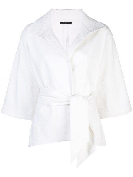 Белая классическая нейлоновая куртка с поясом Natori