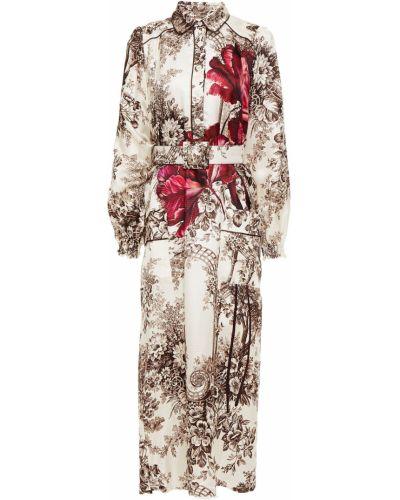 Satynowa sukienka midi z paskiem z printem F.r.s For Restless Sleepers