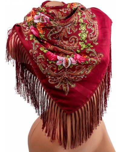 Красный шерстяной шарф в цветочный принт Eterno