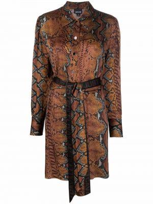 Платье макси с длинными рукавами - коричневое Just Cavalli