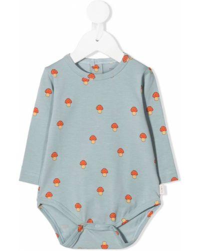 Хлопковое синее боди с длинными рукавами на кнопках с вырезом Tiny Cottons