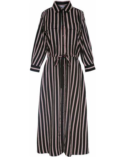 Черное платье-рубашка в полоску из вискозы Gerard Darel