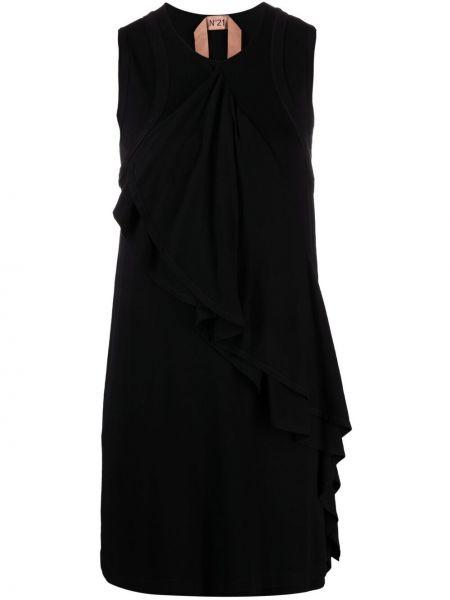Трикотажное платье мини - черное N°21