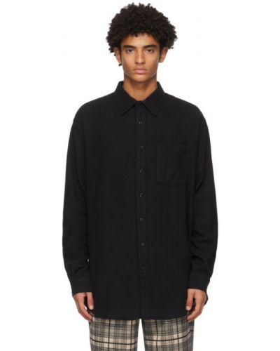 Черная фланелевая рубашка с воротником с заплатками Schnaydermans