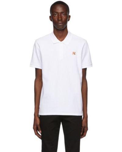 Bawełna biały koszulka polo z haftem krótkie rękawy Maison Kitsune