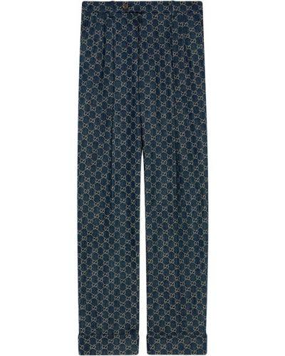 Niebieski z wysokim stanem jeansy z kieszeniami Gucci