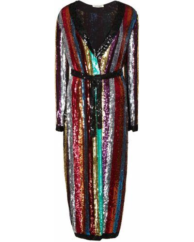 Прямое с рукавами коктейльное платье с пайетками Attico