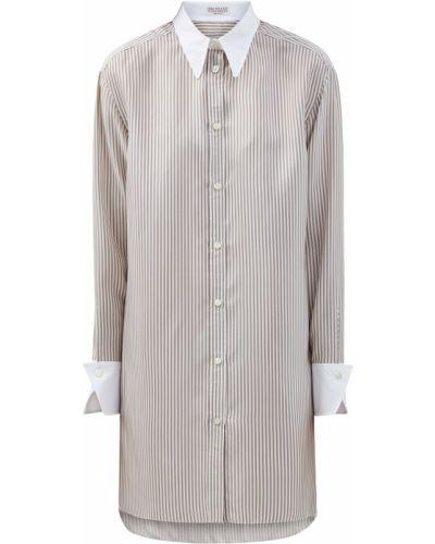 Асимметричная рубашка с воротником с сеткой на пуговицах Brunello Cucinelli