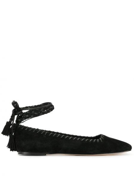 Кожаные черные балетки с квадратным носком Mara & Mine