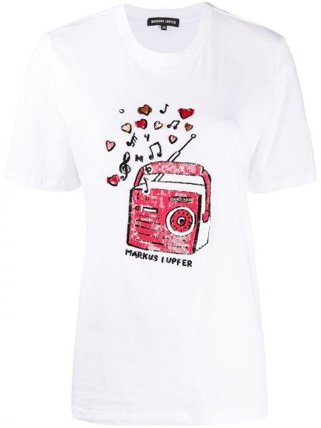 Белая прямая футболка с пайетками с круглым вырезом Markus Lupfer