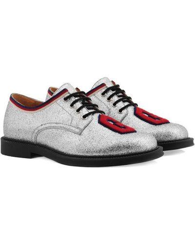 Туфли серебряный на шнуровке Gucci Kids